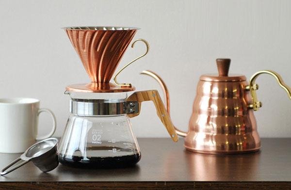 おしゃれな銅製のコーヒードリッパー&ドリップケトル