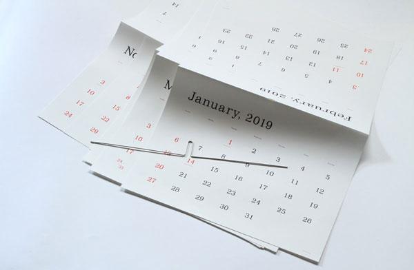 おしゃれなシンプルカレンダー2019年版