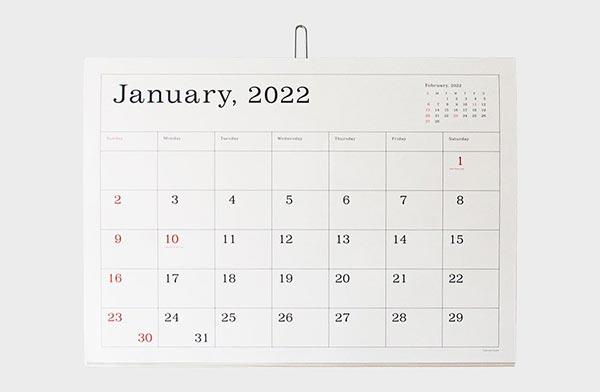 おしゃれなシンプルカレンダー2022年版