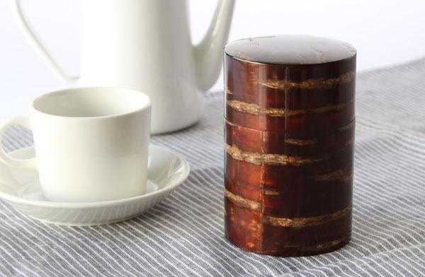 天然の山桜の樹皮を使った、おしゃれな茶筒