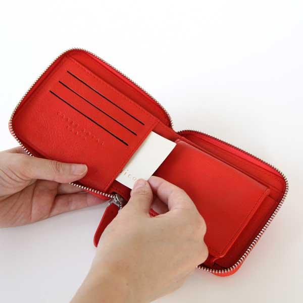 ラウンドファスナーの、おしゃれな二つ折り牛革財布