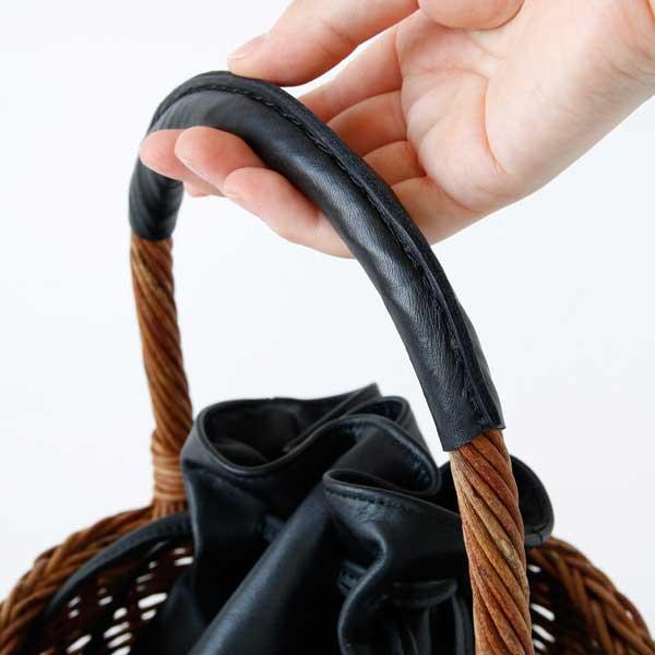 レザー仕様で使いやすい、おしゃれなあけびのかごバッグ