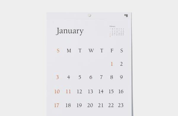 見やすく美しい、おしゃれな壁掛けタイプフェイスカレンダー2021年版