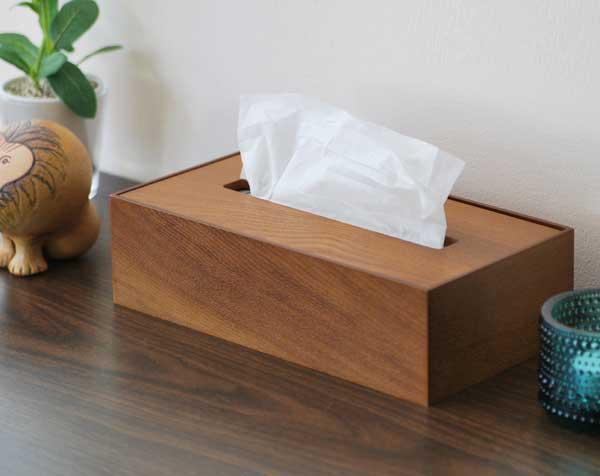 天然木を使用した、おしゃれな木製ティッシュボックス