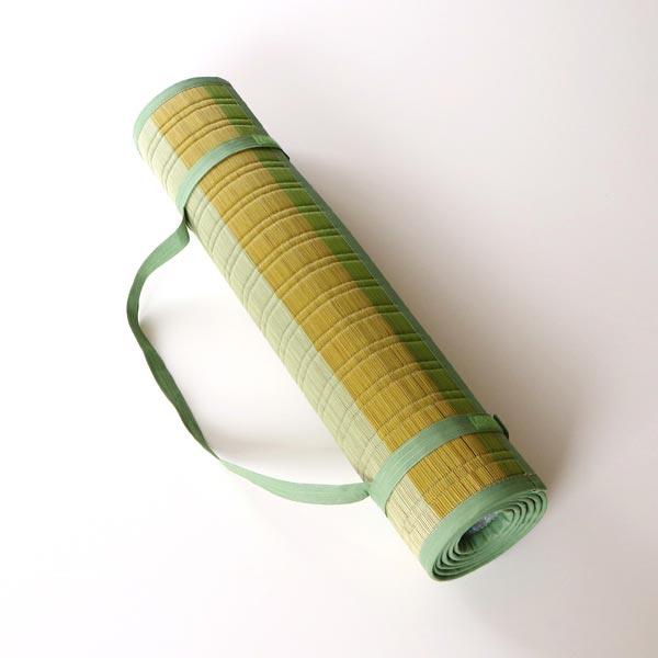 天然い草で作られた、ヨガマットサイズで丸めて運べるストラップ付きのおしゃれなござ