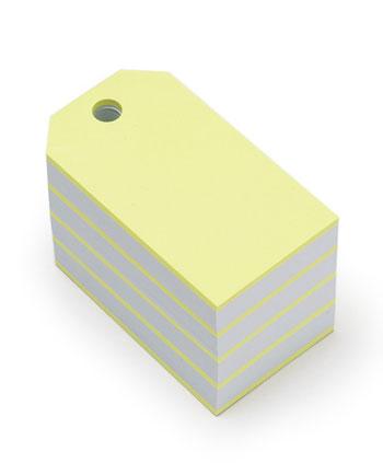 蛍光色が存在感のある、タグの形をしたおしゃれなブロックメモ