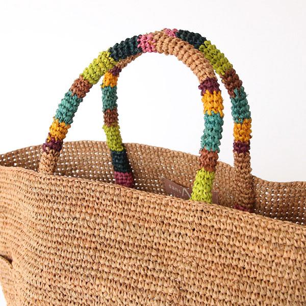 上質なラフィアを丁寧に編んだ、カラフルなおしゃれなバッグ