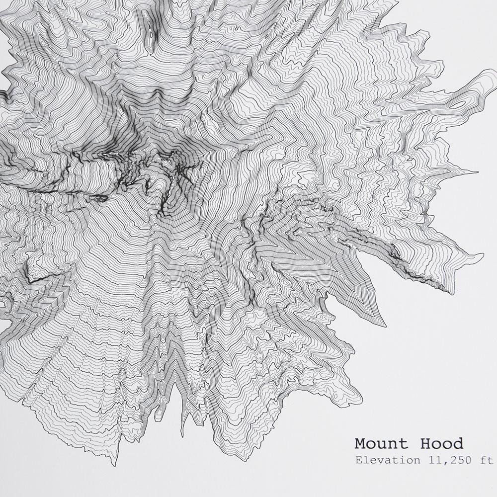 アメリカの名峰や大自然が等高線図で描かれた、おしゃれなドローイングアート