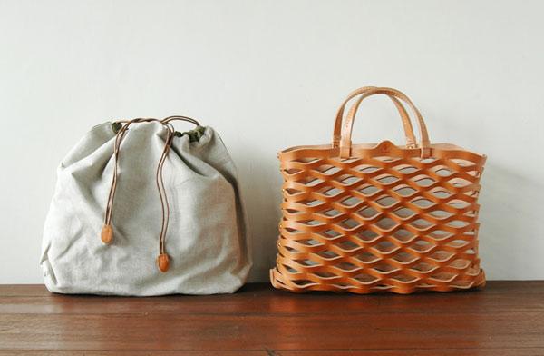使い込むことで色に深みが出る、おしゃれなレザーメッシュトートバッグ