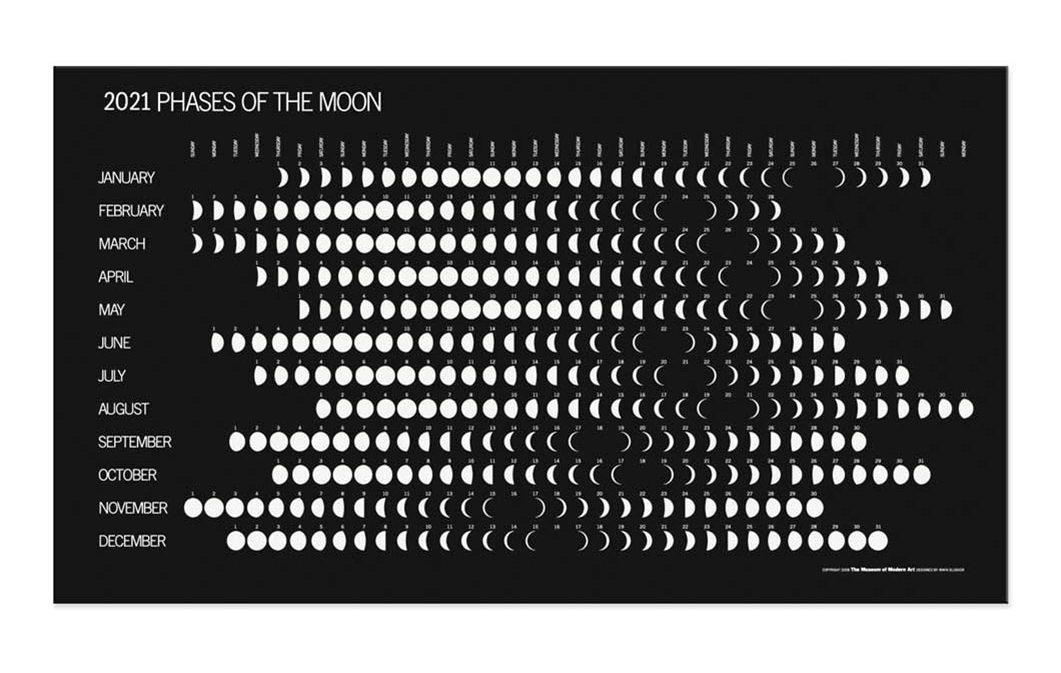 月の変化する様子が一面にデザインされた、おしゃれな月齢カレンダー 2021年版