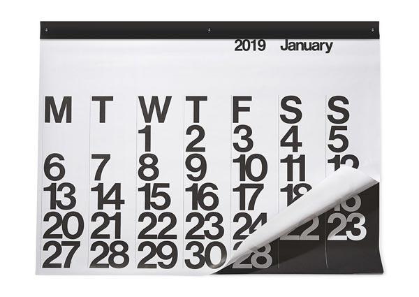 60年代グラフィックデザインの好例として世界中で愛され続けている、おしゃれな大きいカレンダー2019年版