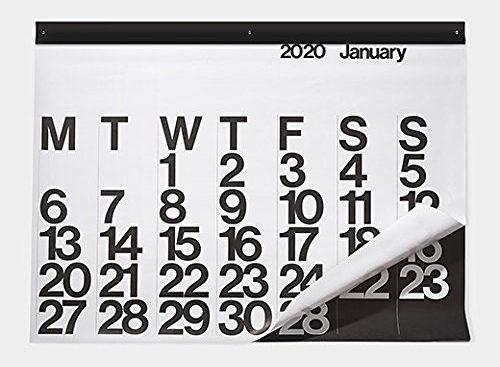60年代グラフィックデザインの好例として世界中で愛され続けている、おしゃれな大きいカレンダー2020年版