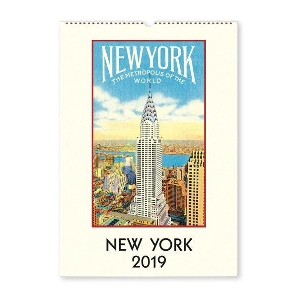 クラシカルで洗練されたニューヨークのイラストを鑑賞できる、おしゃれな壁掛けカレンダー2019年版