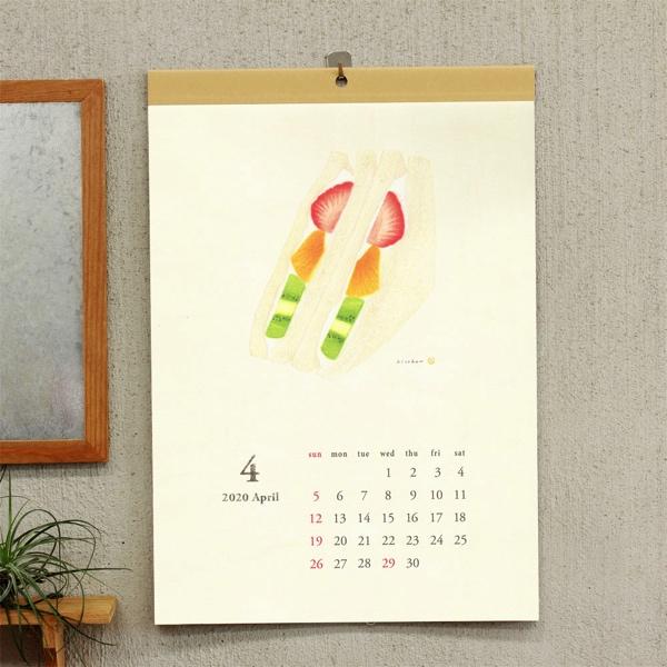 木版画とは思えないほどリアルなイラストが魅力の、おしゃれなパンのカレンダー2020年版