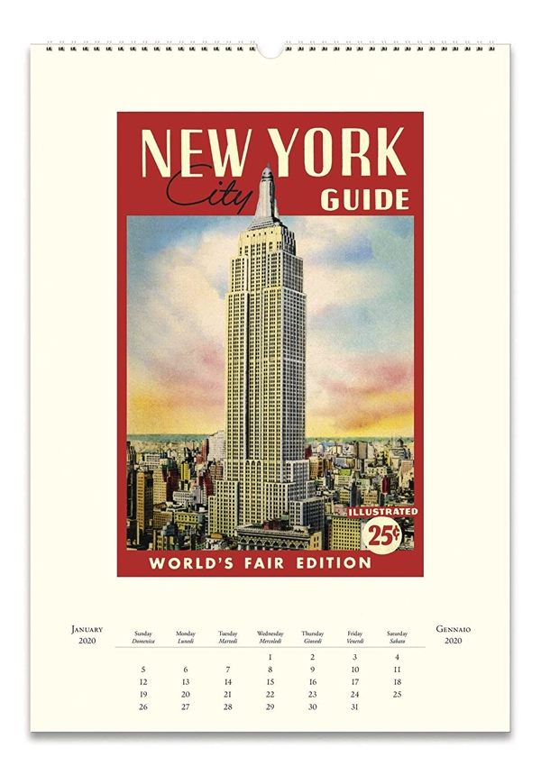 クラシカルで洗練されたニューヨークのイラストを鑑賞できる、おしゃれな壁掛けカレンダー2020年版