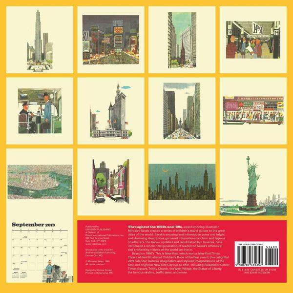 遊び心あふれる視点でニューヨークを描いた、おしゃれな壁掛けカレンダー2019年版