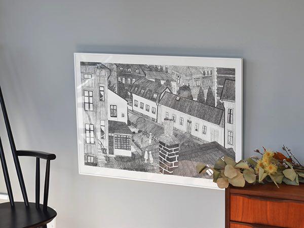 スウェーデンのヨーテボリの町並みを描いた、おしゃれなポスター