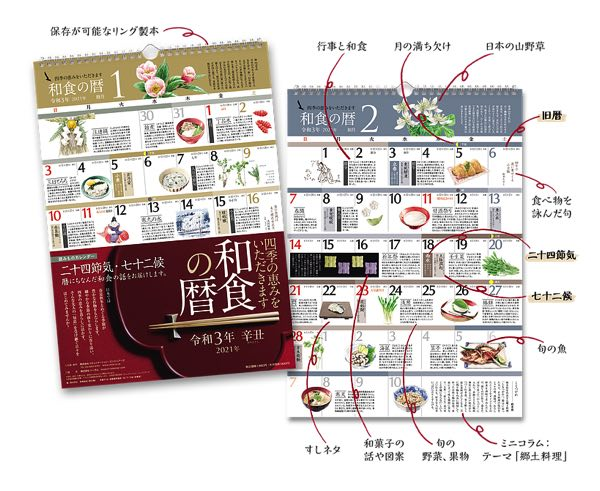 暦とあわせて和食の魅力や食べ物の旬をビジュアルで学べる、おしゃれなカレンダー2021年版
