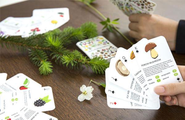 花や果物、キノコなどの特徴を学びながら遊べる、おしゃれなトランプ