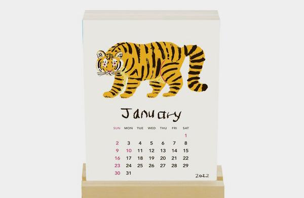 ミロコマチコが描く動物たちを活版印刷で生き生きと表現した、おしゃれな卓上カレンダー2022年版